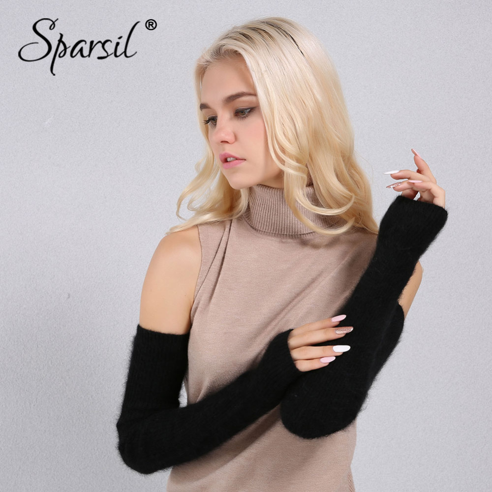 Sparsil Women Winter 60cm Mink Cashmere Gloves Fingerless Arm Warm Knitted Guantes Female Solid Color Soft Fluffy Long Mittens