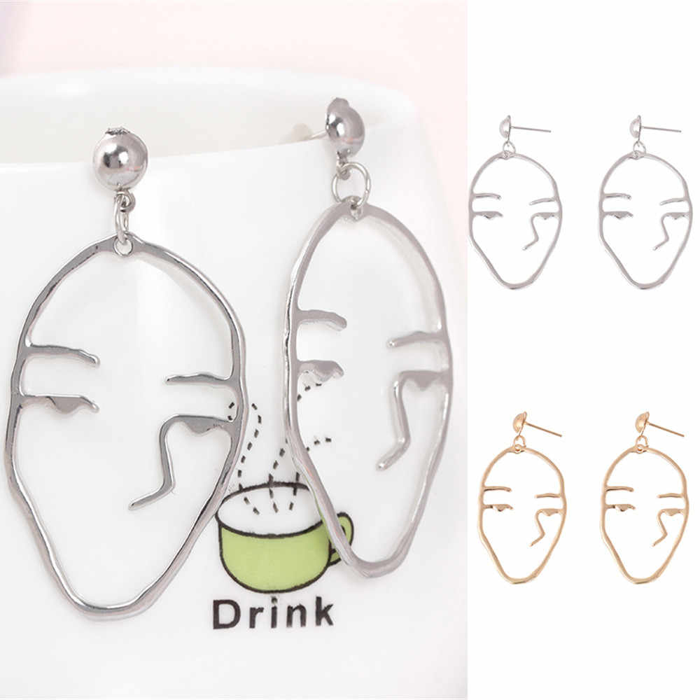 1Pair Retro Earrings Art Abstract Cutout Face Dangle Drop Earrings Lady Hollow Jewelry Accessories Ornaments Oorbellen Bijoux