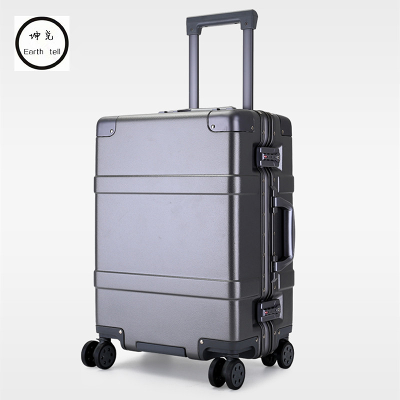 NEW 20 24 Inch men Aluminum frame PC rolling hardside suitcase travel trolley case cabin suitcases for girls women luggage bag