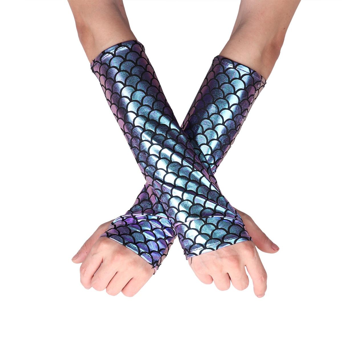 MSemis Women Mermaid Gloves Fish Scale Pattern Printed Fingerless Long Gloves Arm Sleeves Adult Halloween Costume Accessory