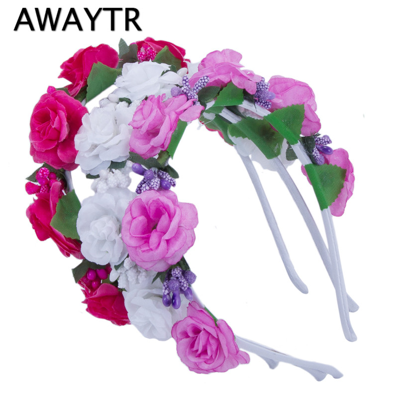 AWAYTR Girls Hair Accessories Flower Hairband Bridal Wedding Girls Headwear Boho Wreath for Kids 2017 New Head Tiara Garland multiple color mix dot birdcage veil 25cm width millinery veils diy hair accessories hat bridal wedding netting party headwear