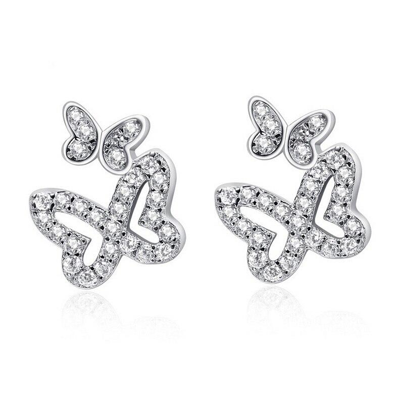 f0b97232f2c4 Mariposa pendientes 100% joyería sólido 925 pendientes de plata con CZ