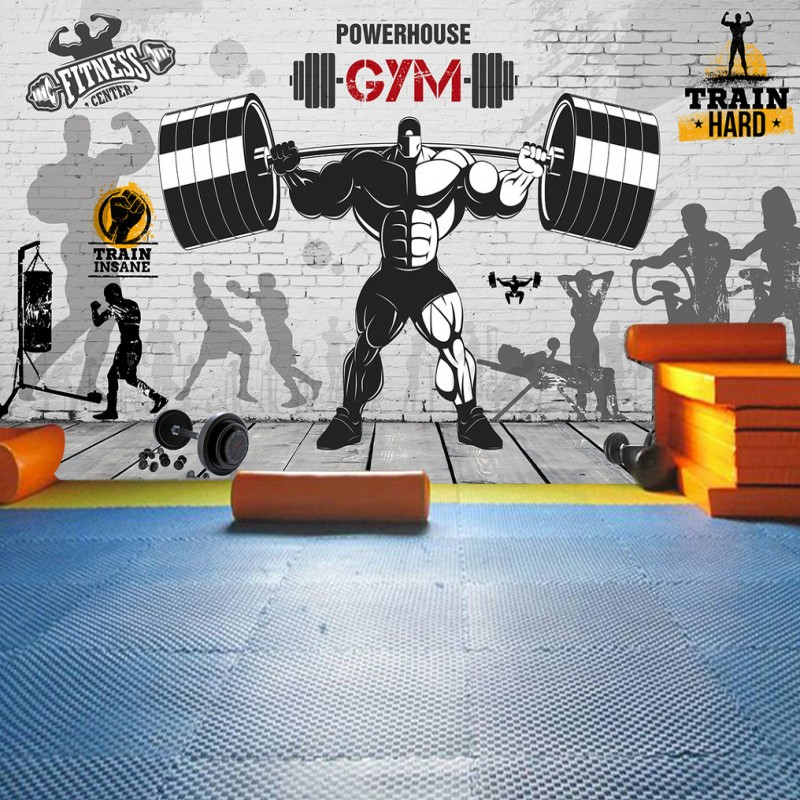 Photo Wallpaper Nostalgic Retro Graffiti Brick Wall Mural Sports Fitness Club Background Wall Gym Custom Wallpaper