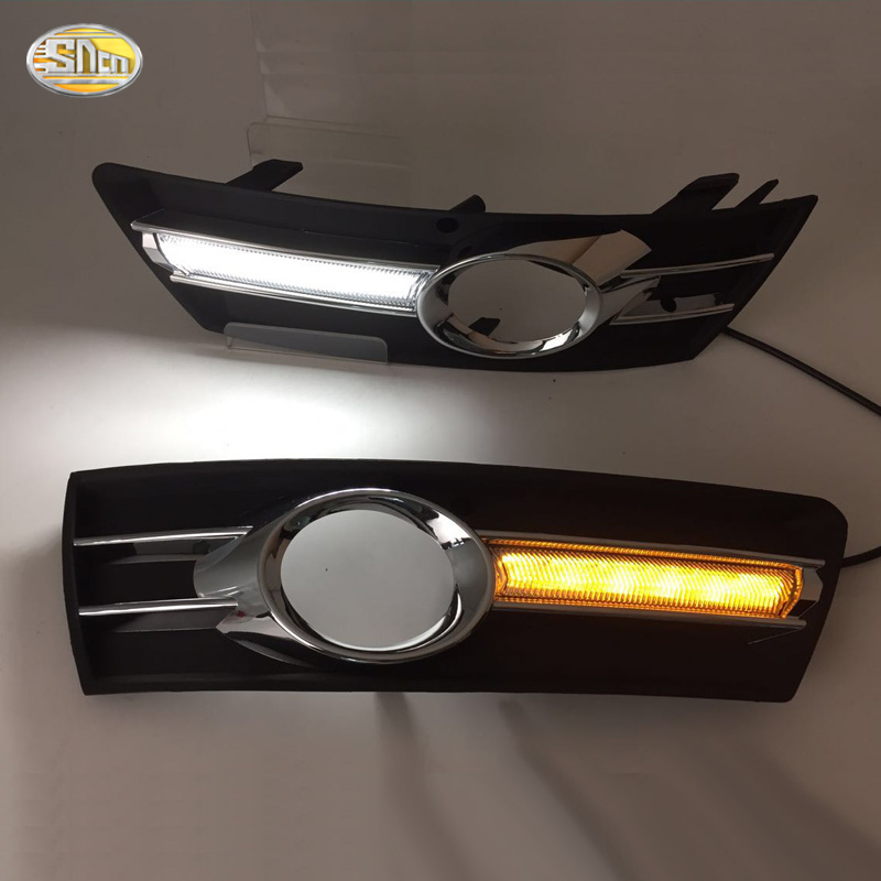 LED Daytime Running Lights for Volkswagen VW Passat CC 2009-2013 drl with yellow turning signal lamp blue night running lights 1set car accessories daytime running lights with yellow turn signals auto led drl for volkswagen vw scirocco 2010 2012 2013 2014