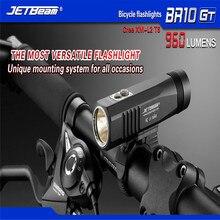 JETBeam Taschenlampe + Batterie BR10GT Schwarz XM-L2 LED USB Aufladbare Fahrradlicht 3 Modi Wiederaufladbare Tragbare Lampe Taschenlampe C3