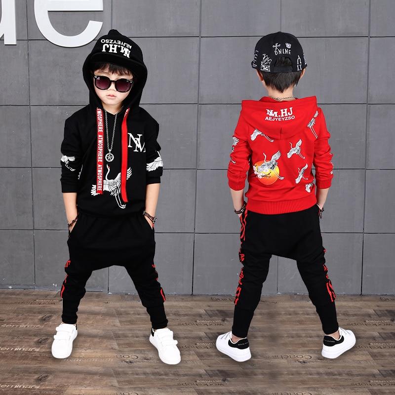 Hip Hop Costume 2017 Fall New Children's Clothing Set Outfit Boys Long Sleeve Sports Suit Kids Hoodies + Pants 2 Pcs Set A194 2017 new boys clothing set camouflage 3 9t boy sports suits kids clothes suit cotton boys tracksuit teenage costume long sleeve