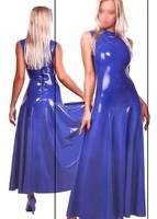 Fashion Women 2015 Sexy Latex Long Dress Fetish rubber Vestidos Party Wear Celibrity Gowns Plus Size Hot Sale