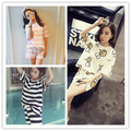 Free Shipping Women Summer Nightwear Clothes Casual Striped Pajamas Sets O-Neck Short sleeve Women Pyjamas & Women Suits