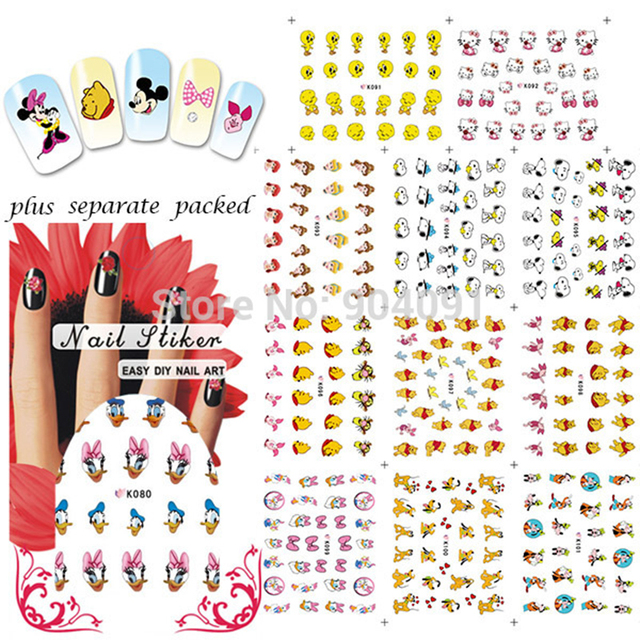 Hot 90sheet lot 3d cartoon nail sticker design for design tip nail sticker fashion 3d