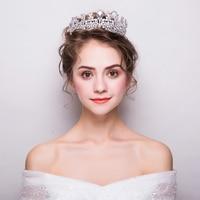 Luxury Zircon Queen Crown Tiara Clear AAA Cubic Zirconia Bridal Wedding Headdress Hair Jewelry Party Headpiece Handmade Gift New