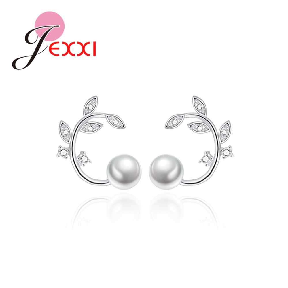 Elegance 925 Sterling Silver  Top Quality Pearls Leaves Shape Micro Paved White Crystals Stud Earrings For Women Girls