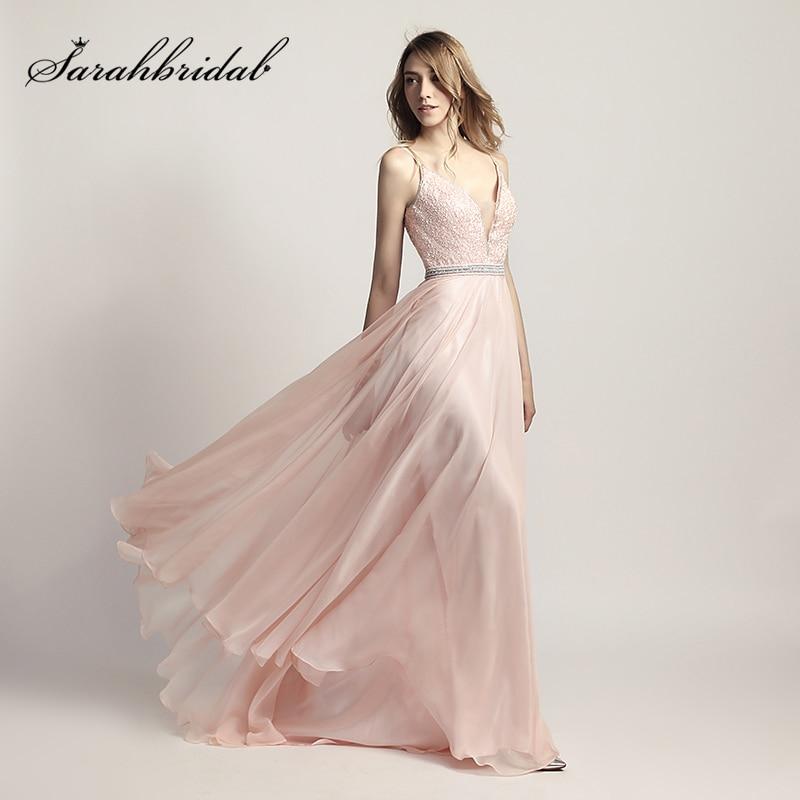 New Arrival V Neck Long Prom Dresses Chiffon Beading Sleeveless Floor Length Evening Dress Cheap in