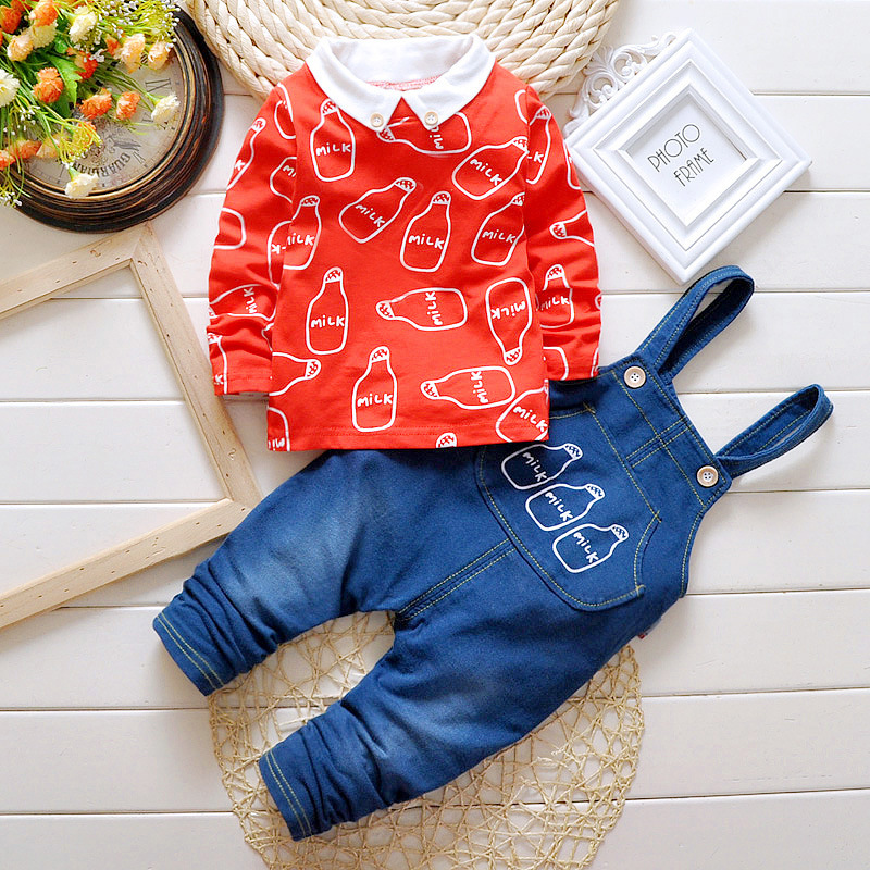infant baby boys clothes sets 2016 new Spring baby boys suits 2pcs long sleeve lapel printed shirts+denim overalls pants 2015 fashion baby spring three pieces suits korean printed cardigan shirts