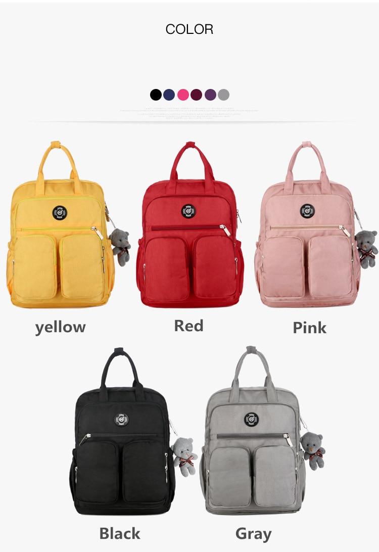 2019 Fashion Woman Backpack Waterproof Nylon Soft Handle Solid Multi-pocket Travel Zipper Mochila Feminina Sac A Dos School Bags