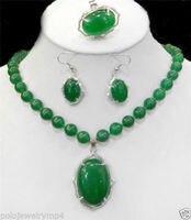 الساخن بيع نوبل-الساخن بيع جديد الآنسة سحر مجوهرات Jew.284 الأخضر * الحجر الطبيعي قلادة حلقة القرط مجموعة (A0511)