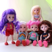 15cm Send clothes and shoes randomly Girls Dress Up Dolls 13 Joint BJD Doll Toys with 3D Eyeball Kids Gift Baby Toys for Girl(China)