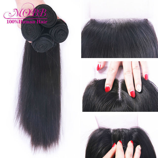 Brazilian Virgin Hair With Closure 4 pcs Human Hair Bundles With Lace Closures Unprocessed Brazilian Straight Hair With Closure