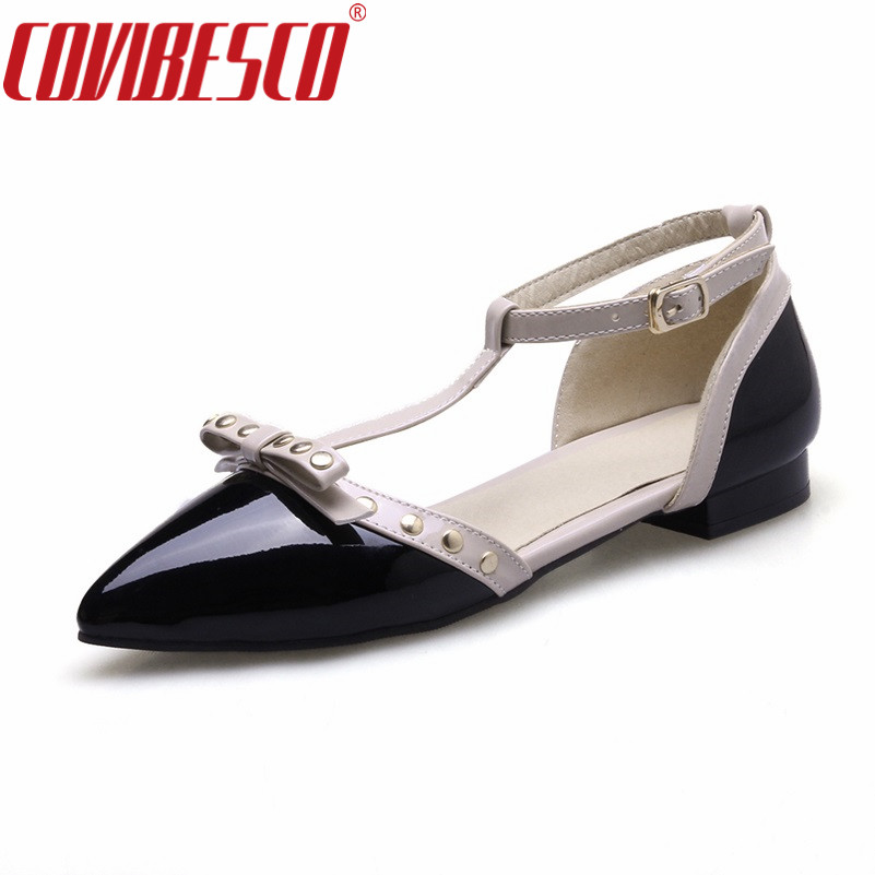 COVIBESCO Roman Style Women Flats Shoes Ladies Sexy T-strap Rivets Stiletto Spring Autumn Casual Shoes Woman Pointed Toe Flats beyarne rivets decoration brand shoes flats women spring autumn fashion womens flats boat shoes sexy ladies plus size 11