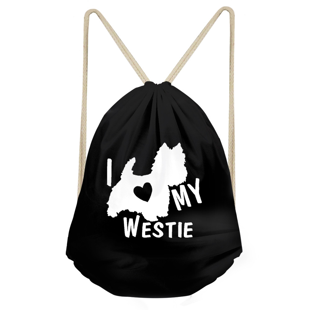 Funny I Love My West Highland White Terrier Dog Print Girls Boys Drawstring Black Westie Backpacks Children Sack BagSumka