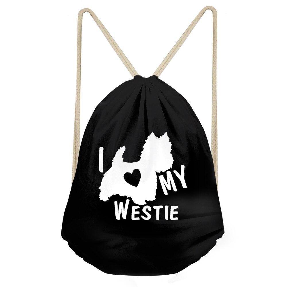 Funny I Love My West Highland White Terrier Dog Print Girls Boys Drawstring Black Westie Backpacks Children Sack BagSumka