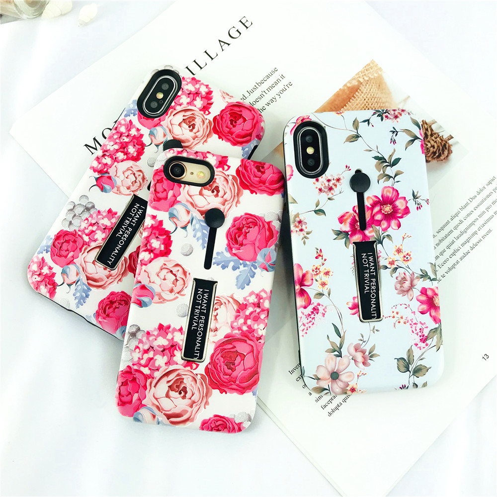 For Iphone 8 Case Fashion Lady Finger Ring Bracket Phone Case for Iphone 8Plus Frosted Soft Painted Flowers Pattern Back Cover