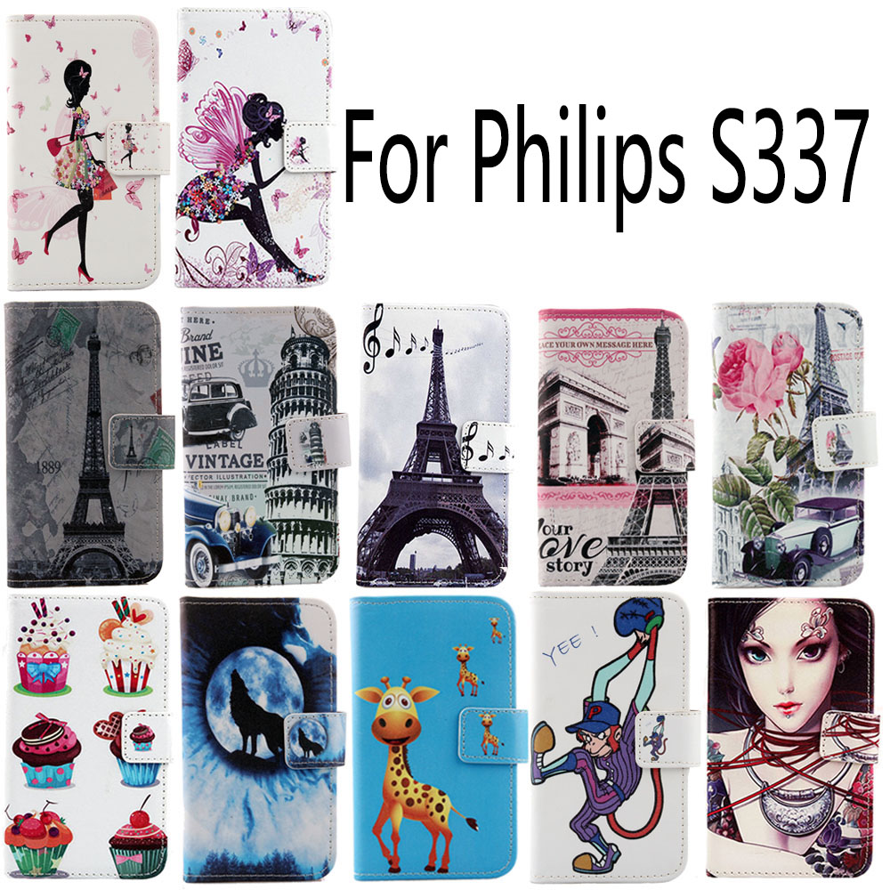 1Pcs Hot Sale Leather Case For Philips S337 PU Colorful Painted Flip Protective Cute Cartoon Cover Skin In Stock Free Shipping