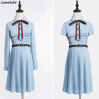 Women Spring Chiffon Dress A Line Turn Down Collar Single Breasted Knee Length Dress Cotton And