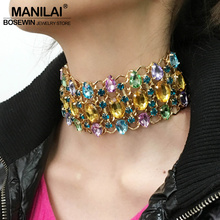 MANILAI Bohemia Multicolor Rhinestones Maxi Statement Necklaces Women Wedding Jewelry Chunky Golden Chain Collar Choker Necklace