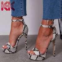 KEMEKISS Women Sexy Sandals Super High Heels Fashion Snakeskin New Summer Shoes Women Buckle Catwalk Show Shoes Size 35 40