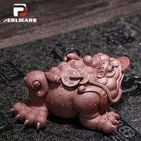 Аутентичные Исин Zisha красный грязи золото жаба Чай Pet Luck фэн шуй фигурка животного кунг фу Чай комплект Керамика ремесла главная Прокат Деко