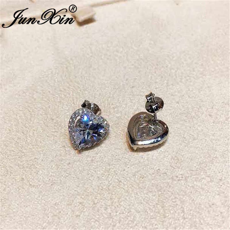 JUNXIN น่ารักต่างหูตุ้มหูหัวใจ 925 สเตอร์ลิงเงิน Brilliant White Zircon ออสเตรียคริสตัล Studs