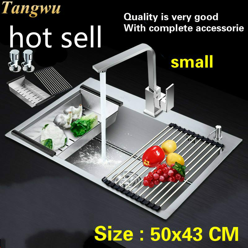 Free Shipping Household Vogue Balcony Small Kitchen Manual Sink Single Trough Durable 304 Stainless Steel Hot Sell 500x430 MM