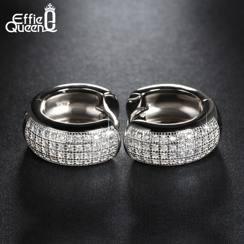 Effie Queen Newest Style Micro Paved 98 pcs AAA Zircon Stud Earrings For Women Birthday Gift Luxury Woman Earrings 2018 DE100