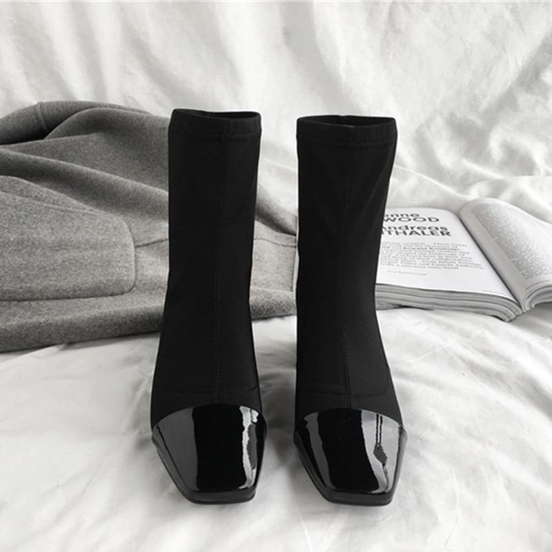 ENMAYER printemps chaussures à talons hauts femme bout carré talon carré plate forme femmes chaussures décontractées à lacets datant solide peu profonde dame chaussures - 3