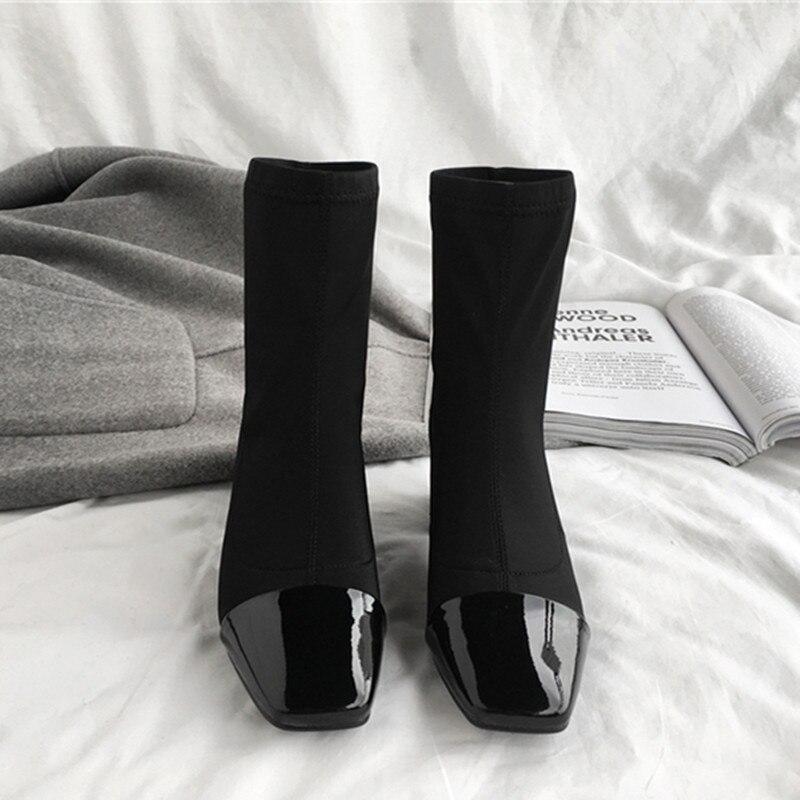 EMMA RE Caldo di Inverno Tessuto Elasticizzato Stivali Calza Sexy Delle Donne Alla Caviglia Punta Quadrata Stivali Tacco Med Casual Vestito Incontri Martin donne Stivali - 3