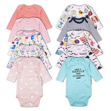 5 Pcs/lot Baby Bodysuits Infant Jumpsuits Long Sleeve Overalls Cotton Coveralls Boy Girls Baby Clothing Set Unisex baby clothes