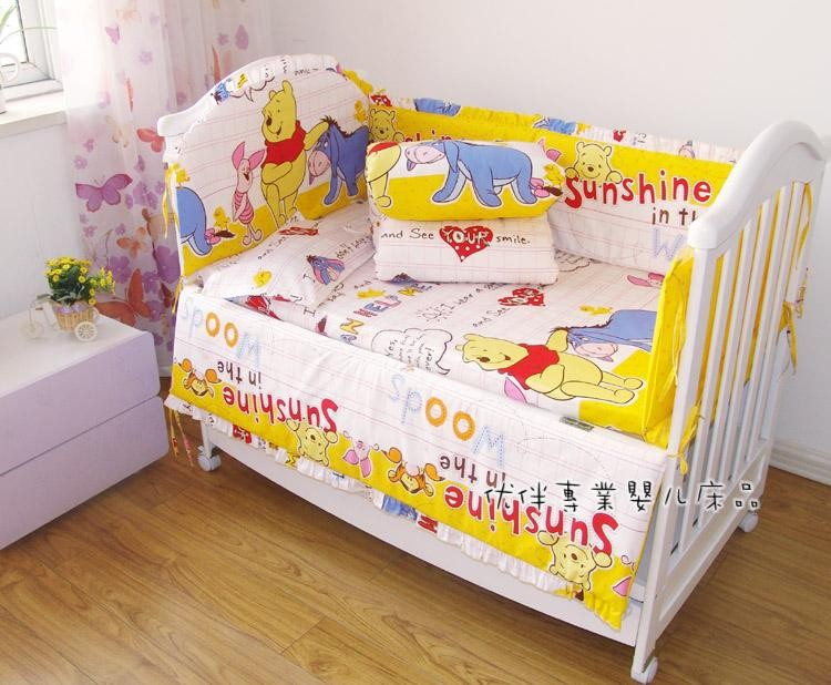 Promotion! 7pcs 100% Cotton Baby Quilt Nursery Comfy Cot Crib Bedding Set Bumper for Girls and Boys(bumper+duvet+matress+pillow)