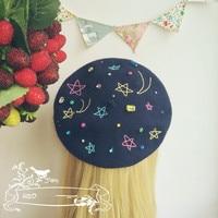 Lolita Sky Star Beret Hat Handmade Caps Lolita Retro Barett Wool Warm Painter Hat Gifts Cosplay