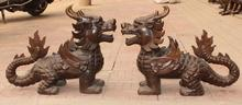 24″ Chinese Bronze Carved Flying Guardion Kylin Dragon Beast Unicorn Pair Statue