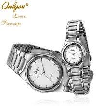 Onlyou Amantes de la Marca de Lujo Relojes para Hombres de Las Mujeres de Acero Inoxidable Negro Esfera Blanca Señoras Reloj de Cuarzo Reloj de pulsera de Negocios 8871
