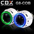 CBX-G8-COB 2.5 polegadas Mini HID Bi xenon Lente Do Projetor com Super brilhante COB Angel Eye Halo 2 PCS para H4 e H7 Do Farol Do Carro LHD/RHD