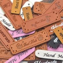 KALASO Großhandel 30 stücke Handgemachte Etiketten Tags Kleidung Bekleidung PU Leder Hand Made Jeans Taschen Schuhe DIY Sewing Supplies