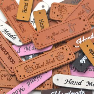 KALASO Wholesale 30pcs Handmade Labels Tags Clothes Garment PU Leather Hand Made Jeans Bags Shoes DIY Sewing Supplies