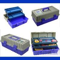 Multi-função espessamento toolkit caixa de ferramentas de plástico três camadas de dobramento caixa de ferramentas 42*21*18cm caixa de instrumento de proteção
