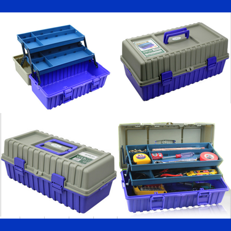 Multi-function Thickening Toolkit Plastic Toolbox Three Layers Of Folding Tool Case 42*21*18cm Protective Case Instrument Box