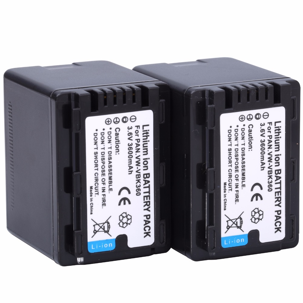 2Pcs VW-VBK360 VW VBK360 VWVBK360 Camera Battery for Panasonic HDC-HS80 SD40 SD60 SD80 SDX1 SDR-H100 H85 H95 HS60 HS80 TM60 replacement vbk360 3 7v 3580mah battery for panasonic hdc tm90 more