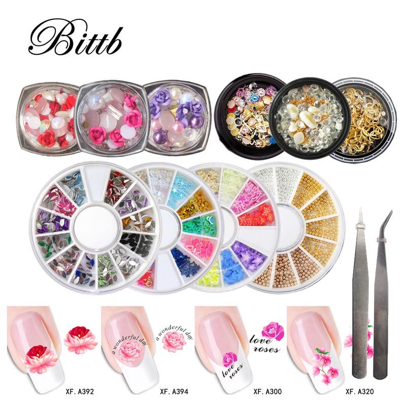 Bittb 3D Acrylic Nail Art Set Kit Rhinestones Charms Stone Gems Beads Shell  Metal Studs UV e2ea5f8b7f00