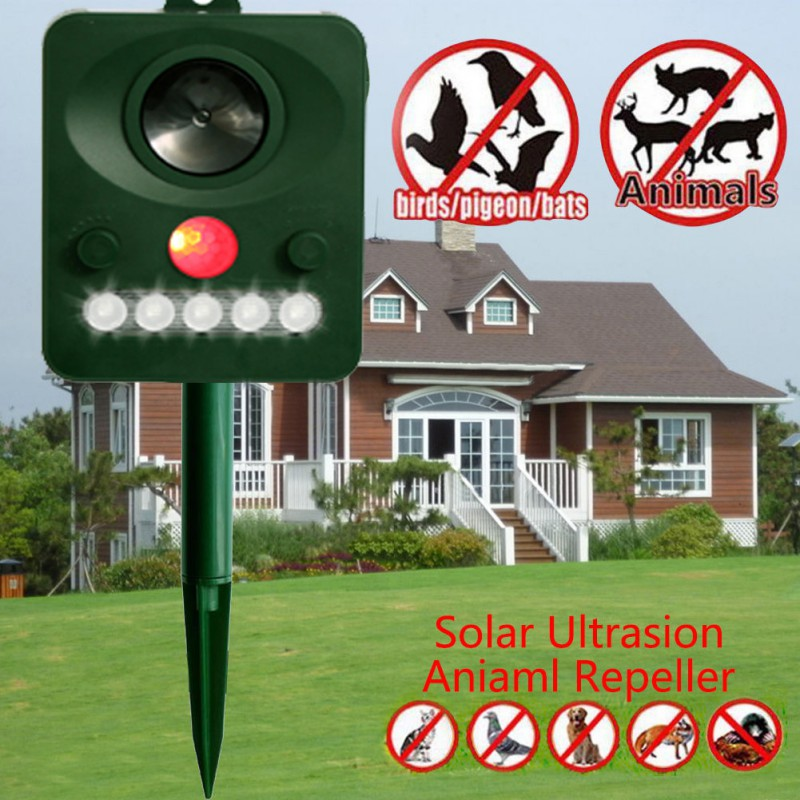 Garden Repellents Small Animals Repeller Outdoor Ultrasonic Solar Powered Cat Dog Fly Trap Animal Chaser Deterrent <font><b>Pest</b></font> Control