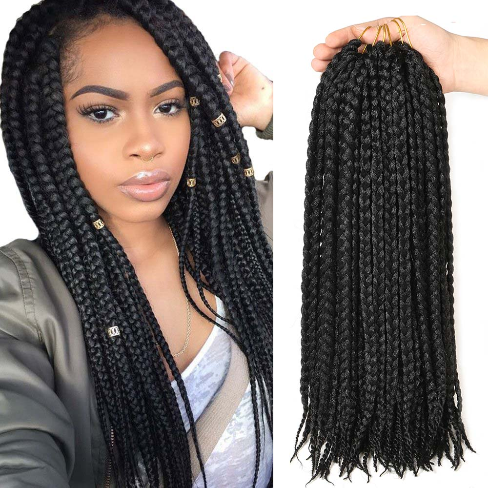box braids crochet braids 12 roots crochet hair extensions synthetic braiding hair bulk black. Black Bedroom Furniture Sets. Home Design Ideas