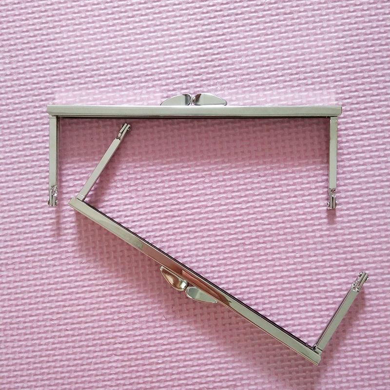 6 3/4 inches Open Channel Metal Purse Frame Nickel Purse Handles